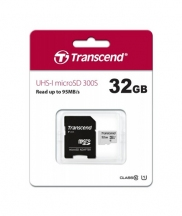 Transcend 32GB Micro SD UHS-I U1-Class-10-Memory Card with Adapter (TS32GUSD300S-A)